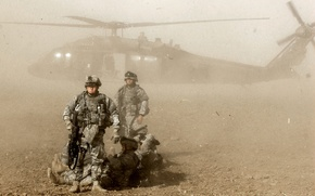 Picture dust, helicopter, soldiers