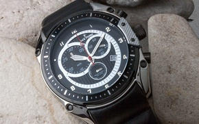 Picture Black, Steel, Watch, Leather, Jack Pierre