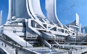 Picture mountains, the city, transport, tower, mass effect 3, concept art, thessia