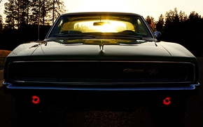 Picture the sky, the sun, Dodge, Dodge, twilight, Charger, the front, 1968, Muscle car, Muscle car, …