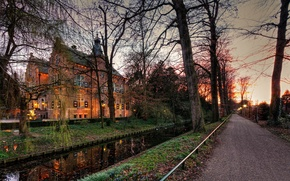 Picture road, trees, Crabbehof, castle, lights, Netherlands, the evening, twilight, channel, autumn