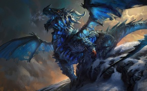 Picture snow, dragon, people, art, Mike azevedo, Ice Dragon