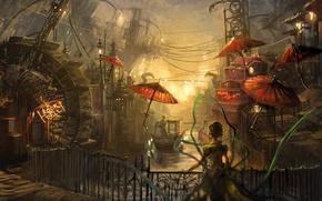 Picture bridge, wire, woman, channel, umbrellas, Paint, gondolier, water mill, Chinatown