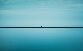 Picture sea, the sky, blue, line, horizon, male, infinity