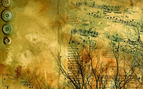 Picture branches, text, abstraction, paper, letters, notes, the inscription, buttons, yellow, old