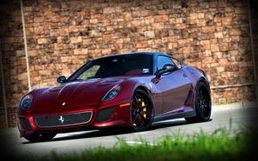 Picture grass, wall, red, wall, ferrari, Ferrari, front view, 599 GTO, dark red, 599 GTO