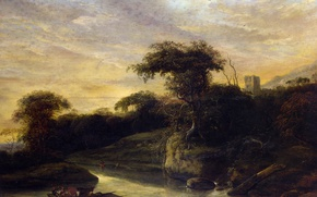 Picture nature, boat, picture, Jacob de Wet the Elder, Landscape with a River at the Foot …