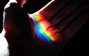 Picture macro, hand, rainbow, palm