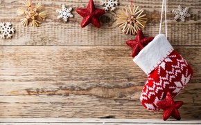Picture winter, snowflakes, red, background, tree, toys, sock, New Year, Christmas, the scenery, Christmas, stars, holidays, …