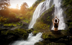 Picture girl, waterfall, Yoga