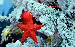 Wallpaper Christmas, toy, New Year, spruce, snow, winter, red, Christmas, tree, Christmas, star, branches