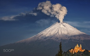 Wallpaper temple, the volcano, Mexico, smoke, mountain