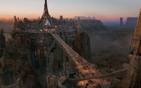 Picture bridge, the city, rocks, height, canyon, Concept art, John Carter
