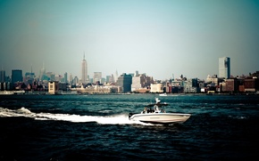 Picture water, the city, boat, New York, skyscrapers, America, USA, States, new york