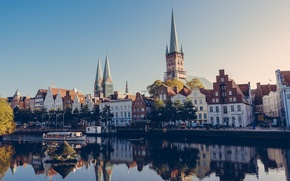 Picture reflection, boat, Germany, mirror, channel, Lubeck, Church. solar