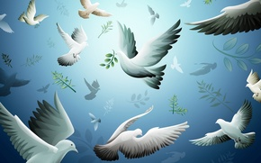 Picture flight, birds, branches, figure, pigeons