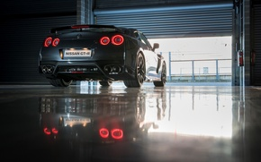 Picture machine, light, red, reflection, Nissan, GT-R, back, exhausts, brake lights