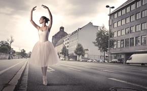 Picture road, the city, silence, home, ballerina, desert