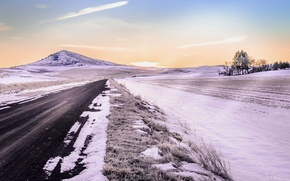 Picture road, field, snow