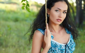 Picture girl, dress, blue