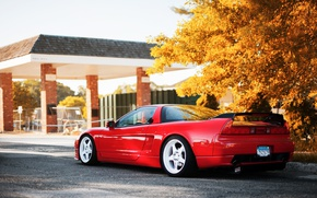 Picture autumn, light, trees, Honda, red, NSX