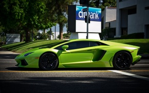 Picture road, trees, green, markup, green, shadow, traffic light, lamborghini, aventador, lp700-4, Lamborghini, aventador, profile