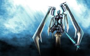 Wallpaper weapons, wings, background, art, cyborg, fantatica, sword, robot