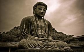 Wallpaper Siddhartha Gautama, statue, Buddha, Buddhism