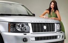 Picture girl, background, model, tuning, Sport, Land Rover, Range Rover, beauty, tuning, the front, Sport, Land ...