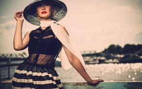 Wallpaper girl, river, railings, hat, scarf