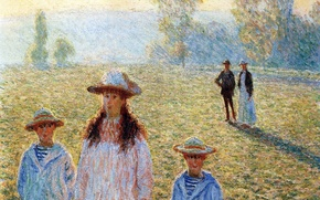 Wallpaper Claude Monet, genre, people, picture, Landscape at Giverny