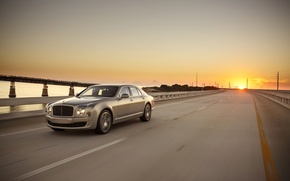 Picture road, sunset, bridge, speed, Bentley, Speed, Mulsanne