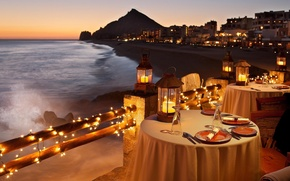 Picture shore, the evening, restaurant, Beach, dinner, Candlelight, Dinner