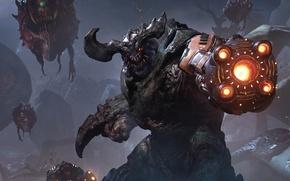 Picture look, monsters, horns, gun, creature, Ikla, DooM, id Software