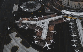 Picture aircraft, airport, the view from the top