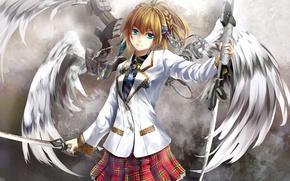 Picture girl, weapons, mechanism, wings, angel, sword, art, form, kouji