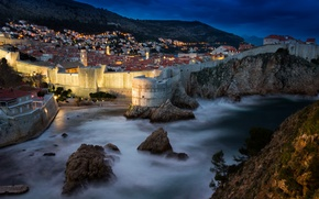 Picture sea, mountains, night, lights, rocks, home, fortress, Croatia, Dubrovnik