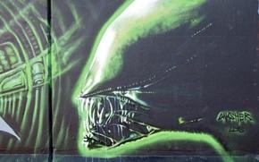 Picture Stranger, wall, Graffiti, graffiti, Alien