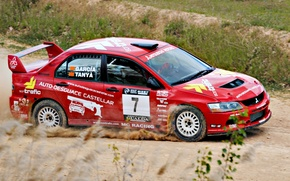 Picture Red, Sport, Machine, Race, Mitsubishi, Lancer, WRC, Rally, Competition