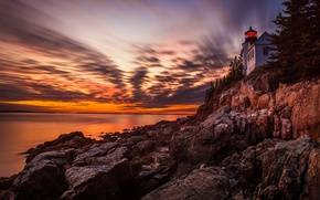 Picture sea, the sky, clouds, rock, lighthouse, the evening