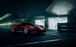 Picture Ford, Red, Color, Night, Supercar, Track, 2016