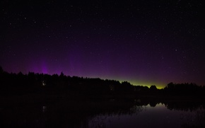 Picture space, stars, night, Northern lights