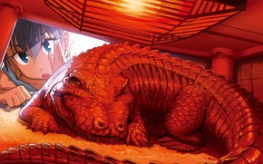 Picture red, lamp, crocodile, art, girl, idolmaster, ganah to hibiki, andou chikanori