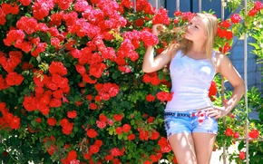 Wallpaper summer, girl, the sun, flowers, pose, model, shorts, Bush, roses, garden, Mike, figure, blonde, red, ...
