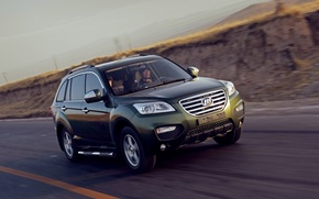 Picture road, speed, China, green, driver, crossover, Chinese car, Lifan, X60, Lifan
