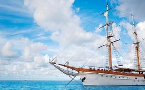Wallpaper Ship, Sea, Blue, Sailboat, Clouds