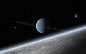 Picture stars, planet, ring, the atmosphere, satellites, gas giant