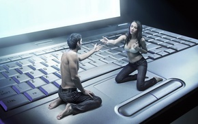 Wallpaper girl, keyboard, guy, virtuality