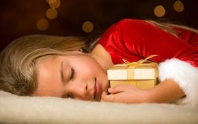 Wallpaper holiday, gift, sleep, girl