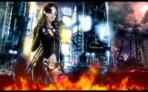 Picture girl, the city, weapons, fire